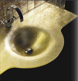 Vasque en verre or