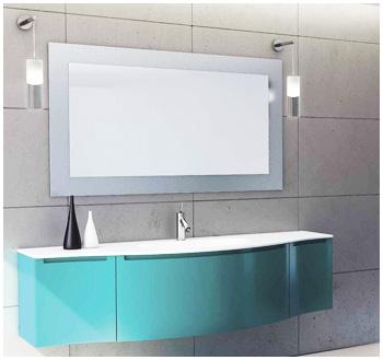 Meuble salle de bains blanc meuble de salle de bains rouge for Carrelage salle de bain bleu et gris