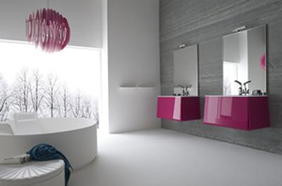 meuble salle de bains blanc meuble de salle de bains rouge meuble ... - Salle De Bain Gris Et Fushia