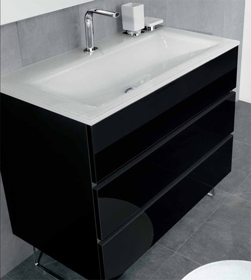 meubles salle de bains noirs
