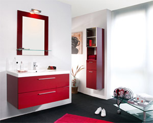 id e salle de bain rouge. Black Bedroom Furniture Sets. Home Design Ideas