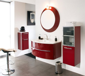 meuble de salle de bains rouge de la marque cedam gamme cintra en exposition chez mouton carrelages - Modele Salle De Bain Avec Meubles Blanc