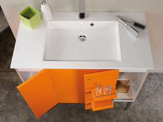 Armoire salle de bain orange for Carrelage salle de bain orange